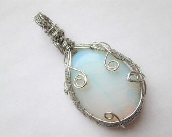 Opal- Handmade Silver Wire Wrap Opal Pendant- Large Oval Opal Gemstone Wire Wrap Pendant- OOAK Wire Wrap Pendant- Opal Pendant- Cabochon