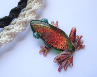 Frog- Gorgeous Red Dichroic Glass Frog Pendant on Handmade Hemp Necklace in Your Choice of Color- OOAK Glass Frog Pendant- Trippy Pendant