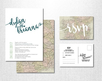 Map Invitation ~ World Map ~ Vintage Map ~ Destination Wedding ~ Rustic Map ~ Wedding Suite ~ Vintage World Map ~ Adventure Wedding