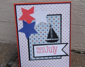 Independence day card, Fourth of july card, Red White and Blue, Sailing Card, Sailboat Card, Patriotic Card, 4th of July