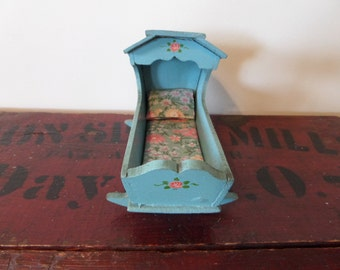 "Small Wooden Doll Cradle 5"" Vintage"