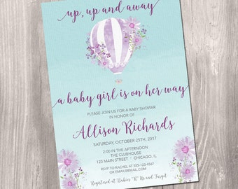 Hot air balloon baby shower invitation, purple lavender Baby Shower, up up away Girl Baby Shower Invitation digital Printable Invitation