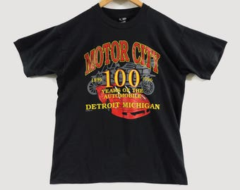 Vintage 1996 Detroit Motor City T-Shirt - Large - General Motors - Auto Workers - Michigan - 1896 - 1996 - Vintage Tee - Vintage Clothing -