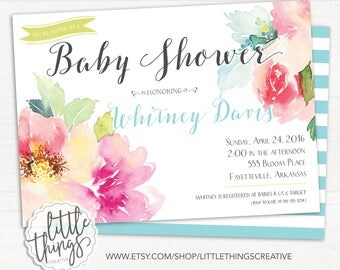 Watercolor Floral Baby Shower Invitation, Gender Neutral, Shabby Chic Baby Shower, Flowers, Spring // DIGITAL, PRINTABLE FILE
