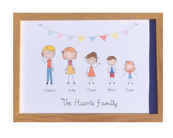 Personalised Stick Family Tree Picture - Unique Gift for Family & Friends. Birthdays, Mothers Day, Christmas, Father's Day