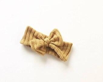 Headband-Soft Sweater Knit Knot Headband in Mustard