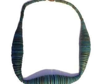 Aqua Gradated Wood Choker Necklace