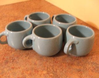 Set of Five (5) 1960s Frankoma Robins Egg Blue 4C Coffee Cups / Coffee Mugs