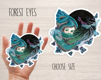 Forest eyes sticker, nature princess stickers, vinyl laptop iphone stickers fairy tail decal stickers, cool skateboard decal sticker ruta13