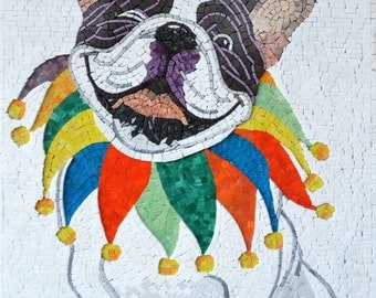 Clown Dog Mosaic Stones