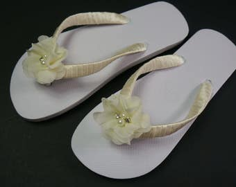 Wedding, Beach, Flip Flops, Sandals, White, Hand Decorated with Satin Ribbon and Chiffon Flower, Comes with Organza Bag.