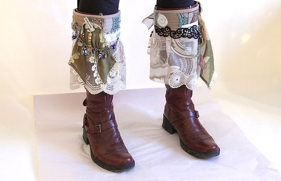 Crazy boot cuffs/unique boot wraps/boot decoration/boot accessories/fantastic boot spats/wedding boot cuffs