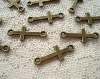 Promotion! 18 Little Bronze Cross Connecters. Unique Christian Bracelet, Necklace and Dangle Connecters 20x8mm  ~USPS Ship Rates / Oregon