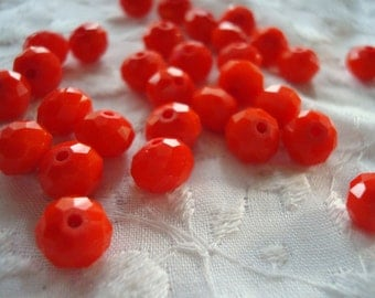 Deep Tangerine Jade-Orange Faceted Rondelles. 6x8mm 36pc 1/2 or 72pc Full Strand + Tiny 2x3mm 148pc Jade Fire Orange.