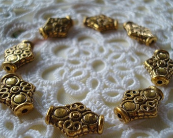 22 Golden Pewter Ornate Rhombus Spacers 15x12.5mm Absolutely Gorgeous Tibetan Style  ~Ships From Oregon