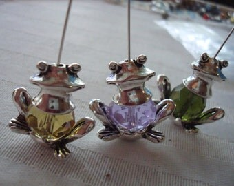 2 Big Frog Cap Sets. 24mm Wide. For Unique Earrings Or Pendants. Quality Antiqued Silver or Silver-Bronze Mix.  ~USPS Shipping Rates/ Oregon