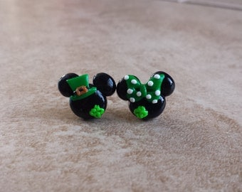 St. Patrick's Day Mickey Mouse Inspired Earrings