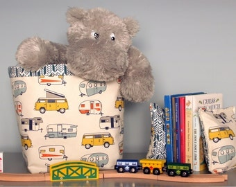 CUSTOM Decor Set - You pick the fabric - fabric bin and bookends