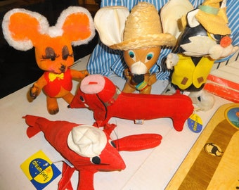 1960s Stuffed Animal Lot 2 Dakin Dream Pets & Sawdust Filled.