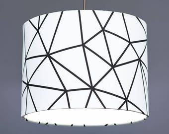 Monochrome Geometric Fabric Drum Lampshade Pendant