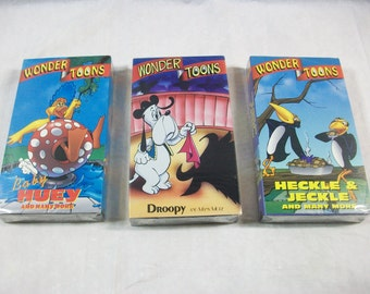 Vintage Wonder Toons VHS Tapes, Children's Cartoon Videos, Children's Vintage Videos, Droopy, Baby Huey and Heckle & Jeckle Cartoons, Sealed