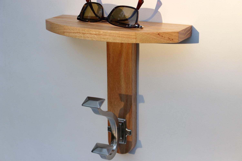 Oak bar mirrors with shelves - Modern Coat Hook W Shelf Handmade Natural Finish Solid Oak Hardwood Brushed Nickel Coat Hook Coat Hook Shelf By Recovered Design