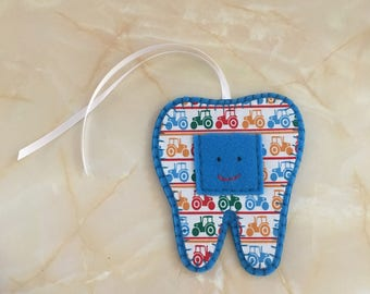 Tooth Fairy Hanger, blue tractor  tooth fairy hanger,