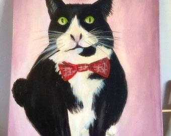 Cat portraits , Customed cat portaits, pet portraits , cat paintings, unique gifts