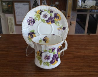 Cup and Saucer Hammersley & Co. Bone China, Made in England, Pansies Pattern