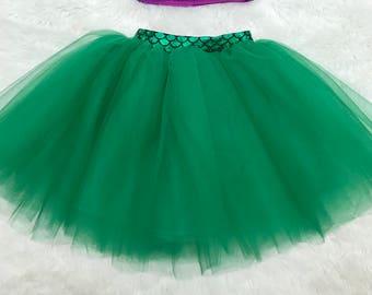 Baby girls green mermaid sewn tutu skirt