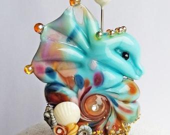 Beachy Bottom Seahorse Focal in Gypsy Blue by Sabrina Koebel Handmade Lampwork Beads