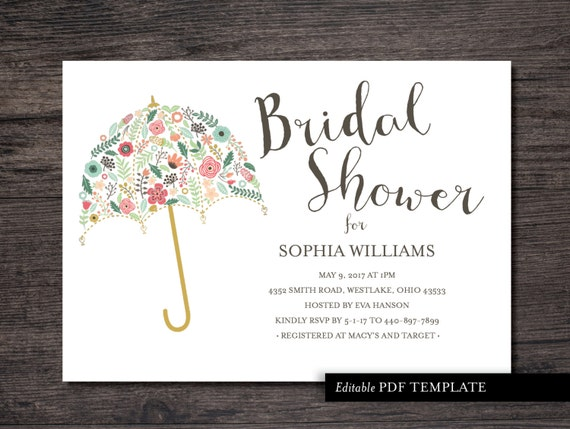 Umbrella Bridal Shower Invitation Template Bridal by
