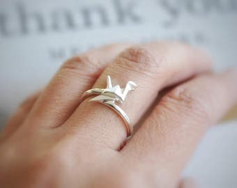 Origami Crane Ring, Sterling Silver Bird Origami Ring, Adjustable Origami Crane Ring, Origami Jewelry, Jamber Jewels