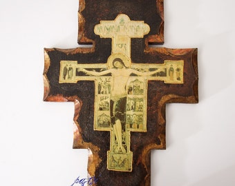 Cross on wood handmade