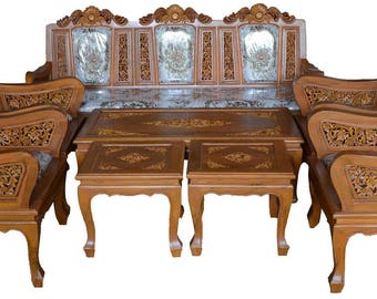 Carved teak wood living room furniture set with beautiful grapes details    2 inches ofCarved teak wood living room furniture set with beautiful. Teak Living Room Furniture. Home Design Ideas