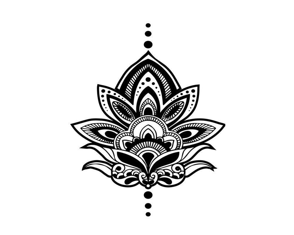 Henna lotus temporary tattoo set of 2 yoga gift for Custom henna tattoo
