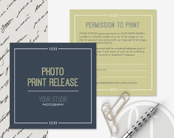 Photography Print Release Form - Instant Download, Photoshop Templates for Photographers, Print Release Template, Photography Forms