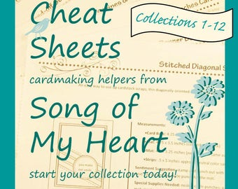 Cheat Sheets Collections 1-12 Complete First Volume: Instant Digital Download cardmaking helpers for crafters and stampers