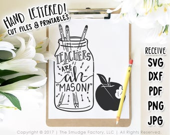 Teacher SVG Cut File, Mason Jar SVG, Teachers Are Amazing, Hand Lettered SVG Cutting File, Apple Clipart, Teaching Clipart, Gift for Teacher
