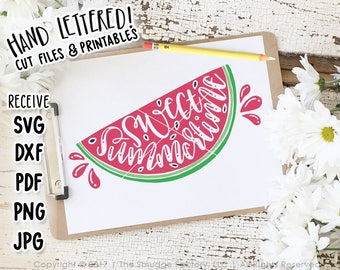 Watermelon Printable, Sweet Summertime Print, Hand Lettered, Watermelon Decor, Watermelon Print, Hand Lettered SVG, Summer Printable