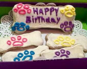 Dog Treats - Wheat Free - Frosted Blueberry Birthday Biscuits