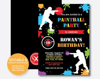 Instant Download, Editable Paintball Birthday Invitation, Paintball Invitation, Paintball Party Invitation, Boy Birthday Invitation (SKB.42)