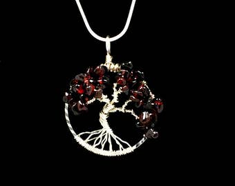 Amethyst chrome diopside gemstone tree of life jewelry set garnet tree of life necklace pendant january birthstone metaphysical jewelry wire wrapped jewelry tree of life mozeypictures Image collections