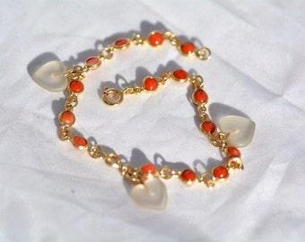 Vintage Gold Bracelet 18kt, italian red corals natural cabochon