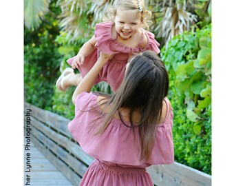 Girl's (2T-14Yrs) Mauve Off The Shoulder Ruffle Dress. Antique Rose. Pink. Mommy and Me Dress. Daughter. Spring Summer