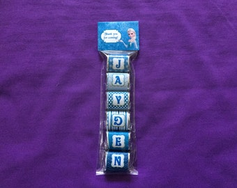 Personalized Frozen Hershey Nuggets labels + bags + toppers, Party Favors (good for 10 sets of favors)