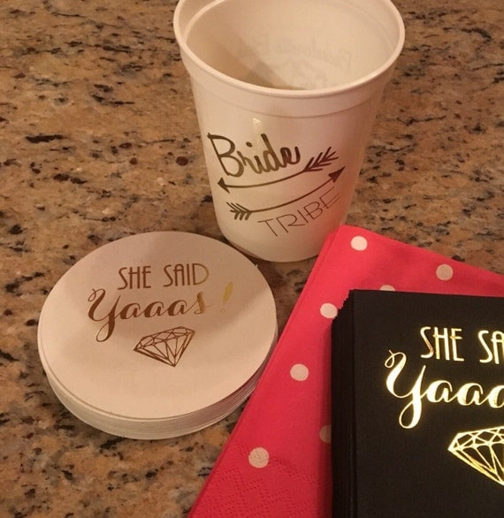 Bachelorette party favors, she said yaaas, coasters, personalized coasters, engagement party decorations, wedding shower favors, bach bash