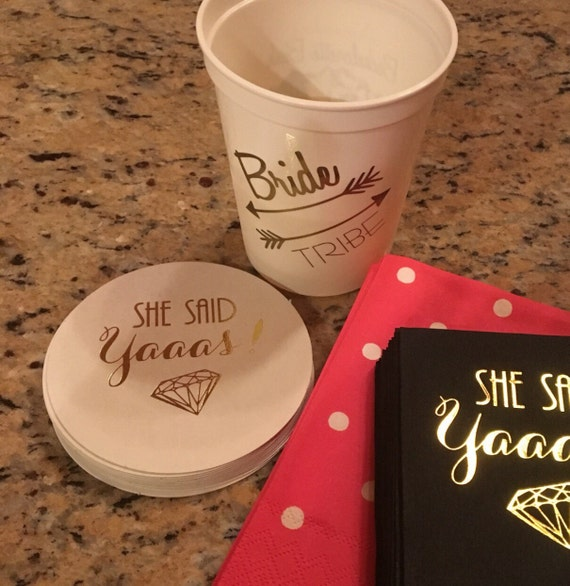 Bachelorette party coasters, she said yaaas, coasters, personalized coasters, engagement party decorations, wedding shower favors, bach bash
