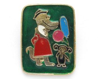Cheburashka and Crocodile Gena, Character from soviet cartoon, Balloons, Сollectible badge, Soviet Vintage Pin, Made in USSR