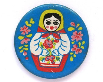 Matryoshka doll with flowers, Rare Badge, Russian Souvenir, Nesting doll, Vintage collectible badge, Made in USSR, 1970s